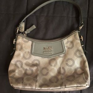 Coach silver and gray handbag